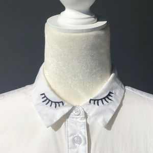 H&M - 'Eyelash' Embroidery White Button-up.